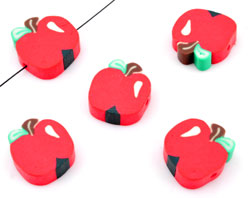 www.beadyourfashion.nl - Polymeerklei kraal plat rond fruit appel ± 15mm, ± 5mm dik (gat ± 1,5mm)