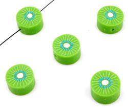 www.beadyourfashion.es - Cuenta de arcilla polimérica, plano y redondo, fruta kiwi ± 10mm, ± 4mm grueso (hueco ± 2mm)