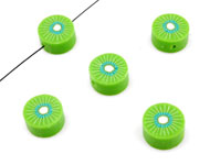 Polymer clay bead flat round fruit kiwi ± 10mm, ± 4mm thick (hole ± 2mm)