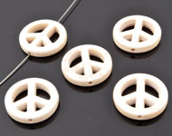 Natural stone bead imitation turquoise peace sign ± 20mm (hole ± 1,5mm)