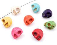 Mix natuursteen kralen imitatie turquoise schedel/doodshoofd ± 12x12-14mm (gat ± 2mm)
