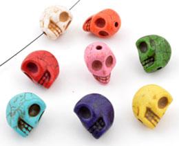 www.beadyourfashion.nl - Mix natuursteen kralen imitatie turquoise schedel/doodshoofd ± 15x14mm (gat ± 2mm)