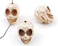 Natuursteen kraal imitatie turquoise schedel/doodshoofd ± 18x17mm (gat ± 2mm)