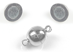 www.beadyourfashion.com - Brass clasp round magnetic, with 2 eyes ± 13x8mm (eye ± 1,5mm) (warning: not to be worn by people with a pacemaker)