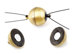www.beadyourfashion.com - Brass clasp matte round magnetic, with 2 eyes ± 18x12mm (eye ± 1,5mm) (warning: not to be worn by people with a pacemaker)