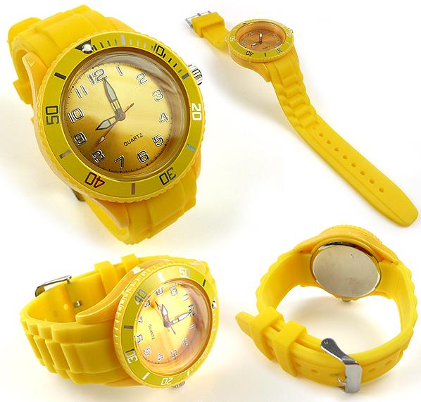 www.beadyourfashion.nl - Siliconen/kunststof horloge met metaal ± 24,5x4,3cm (in maat verstelbaar) met draaibare ring/lunette