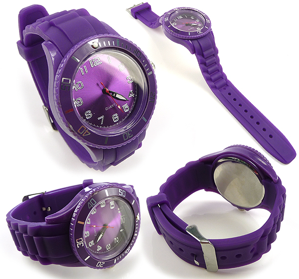 www.beadyourfashion.com - Silicone/synthetic watch with metal ± 24,5x4,3cm (adjustable size), with rotating dial/bezel