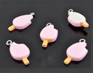 Synthetic pendant/charm ice cream with metal eye ± 24x11mm