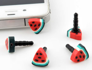 www.beadyourfashion.com - Synthetic anti-dust plug for mobile phone with polymer clay bead fruit watermelon ± 19x12mm
