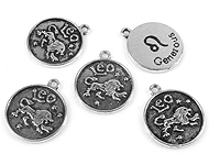 Metal pendant/charm sign of the Zodiac Leo with 'Generous' ± 20x17mm (hole ± 2mm)