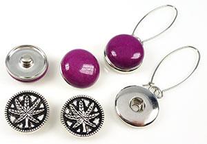 www.beadyourfashion.nl - DoubleBeads EasyButton metalen oorbellen ± 59mm met 2 x 2 DoubleBeads EasyButton drukknopen bewerkt ± 18mm (geschikt voor DoubleBeads EasyButton accessoires)