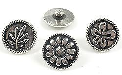 www.beadyourfashion.nl - Mix DoubleBeads EasyButton metalen drukknopen bewerkt ± 18mm (geschikt voor DoubleBeads EasyButton accessoires)