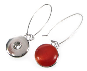 www.beadyourfashion.com - DoubleBeads EasyButton metal earrings ± 6cm with settings for DoubleBeads EasyButton press studs