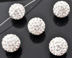www.beadyourfashion.fr - Perle de strass, circulaire ± 12mm (trou ± 2mm)