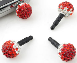 www.beadyourfashion.com - Synthetic anti-dust plug for mobile phone with strass ball ± 25x12mm