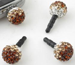 www.beadyourfashion.es - Anti-dust plug de material sintético para teléfono móvil con bola de strass ± 25x12mm