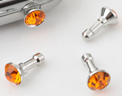 www.beadyourfashion.com - Metal anti-dust plug for mobile phone with strass ± 14x7mm