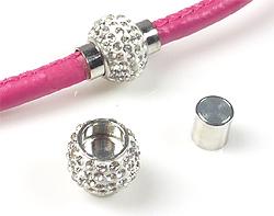 www.beadyourfashion.nl - Brass slotje/sluiting (messing) magnetisch, met polymeerklei, strass en kapjes ± 18x15mm (kapje ± 7mm) (waarschuwing: niet voor mensen met een pacemaker)