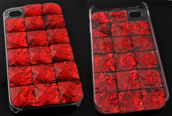 www.beadyourfashion.com - Synthetic iPhone 4/4S case/cover decorated with flat backs ± 6,1x12cm (± 14mm thick)