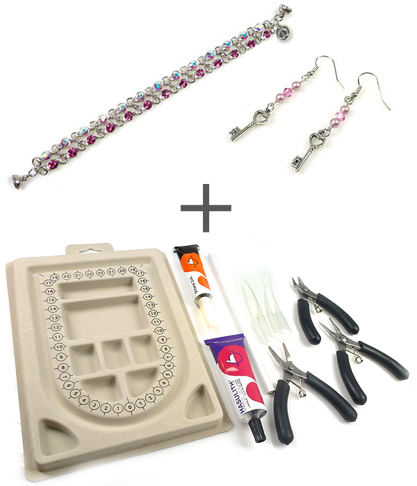 www.beadyourfashion.com - Starter kit/holiday kit jewelry making with pliers, glue, bead bord and DoubleBeads jewelry kits (DM0588 and DB0316)