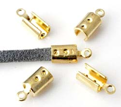www.beadyourfashion.com - Metal cord crimp for suede and leather laces ± 10x4mm (hole ± 1,5mm)