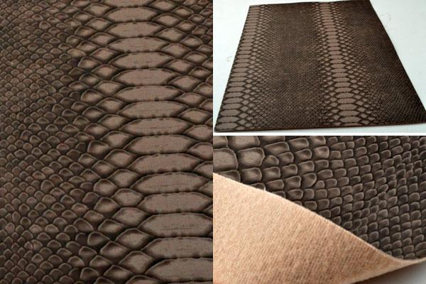 www.beadyourfashion.nl - Lap imitatieleer met slangenprint ± 30x21cm, ± 0,8mm dik