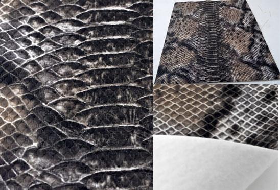 www.beadyourfashion.com - Piece of imitation leather with snake print ± 30x21cm, ± 0,8mm thick