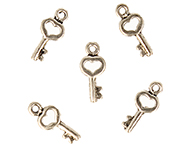 Metal pendants/charms key with heart ± 16x7mm (hole ± 1,5mm)