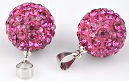 www.beadyourfashion.com - Strass pendant/charm with brass pendant bail, ball ± 22x14mm