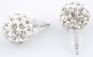 www.beadyourfashion.com - Metal ear studs with strass ball ± 10mm, ± 20mm long, with synthetic ear nuts