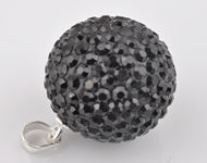 Strass pendant/charm with 925 silver pendant bail (sterling silver), ball ± 23x16mm (hole ± 4x3mm)