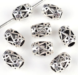 www.beadyourfashion.com - 925 Silver bead decorated (sterling silver) ± 6,5mm (± 5mm thick) (hole ± 2,5mm)