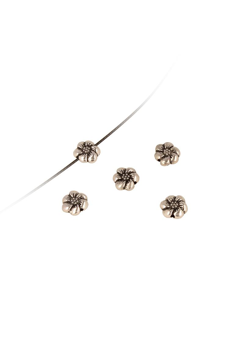 www.beadyourfashion.nl - Metalen kraal bloem ± 11x9mm (gat ± 1,5mm)