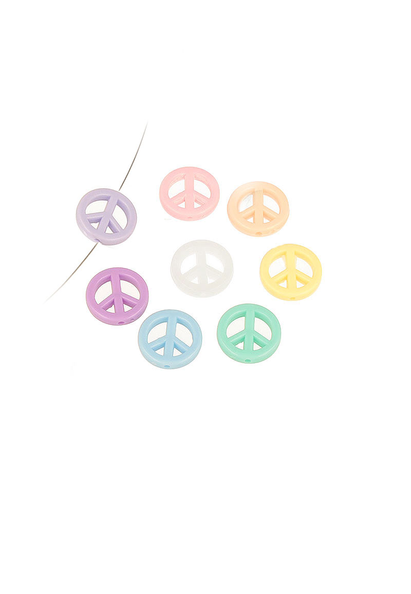 www.beadyourfashion.com - Mix synthetic beads peace sign ± 17mm (hole ± 1,5mm)