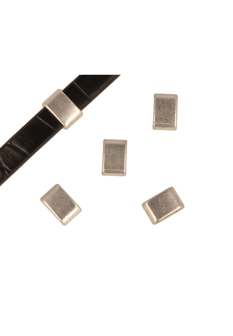 www.beadyourfashion.com - Metal slide-bead rectangle ± 12x8mm (hole ± 9x3mm)
