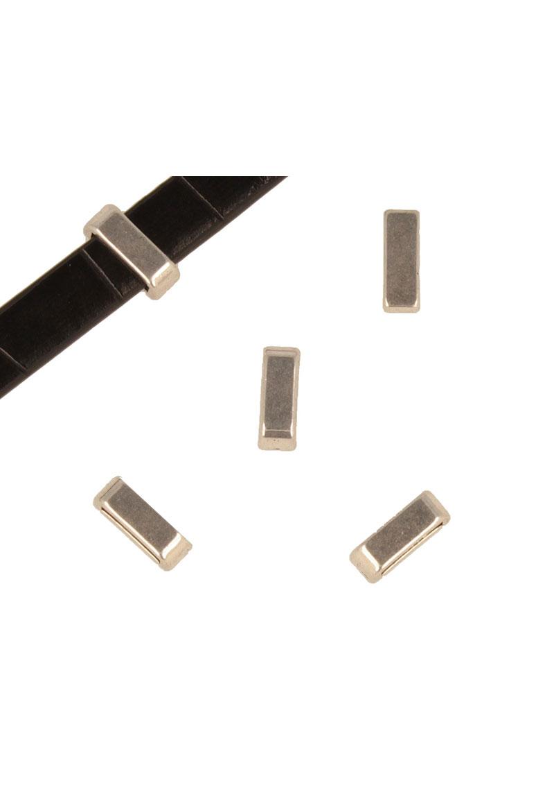 www.beadyourfashion.nl - Metalen schuifkraal rechthoek ± 13,5x5mm (gat ± 10x2,5mm)