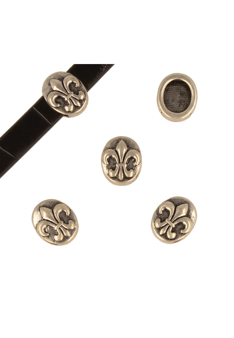 www.beadyourfashion.com - Metal slide-bead decorated ± 16x5mm (hole ± 10x2,5mm)