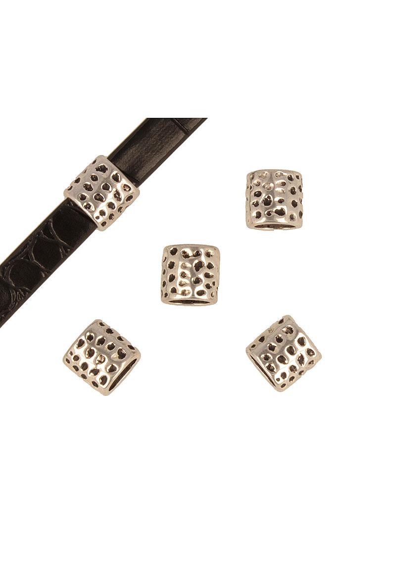 www.beadyourfashion.nl - Metalen schuifkraal bewerkt ± 12x12mm (gat ± 9x7,5mm)
