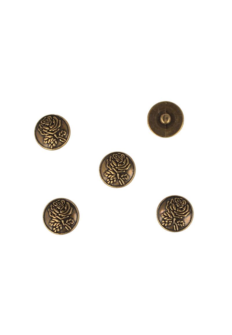 www.beadyourfashion.nl - Metalen drukknoop DoubleBeads EasyButton rond bewerkt met roosje ± 18mm (geschikt voor DoubleBeads EasyButton accessoires)