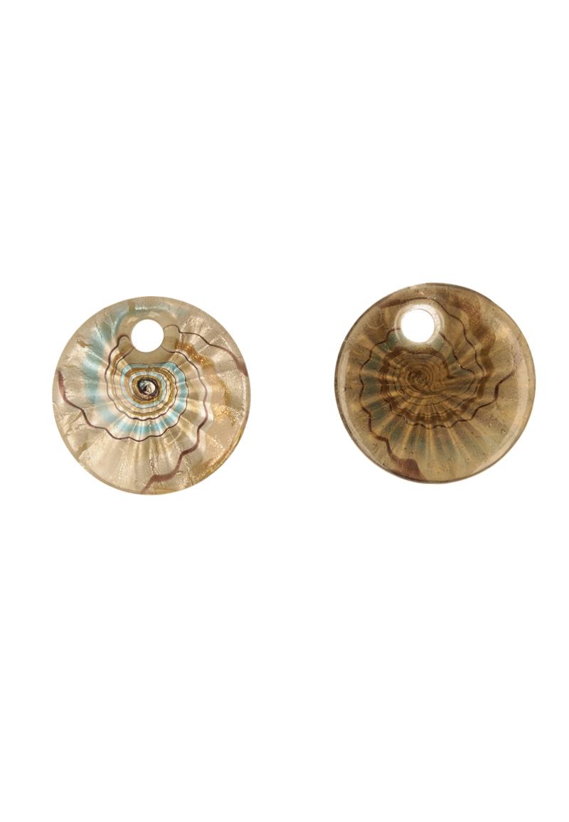 www.beadyourfashion.nl - Glas hanger Italian style millefiori plat rond versierd met zilverfolie ± 45mm (gat ± 8mm)