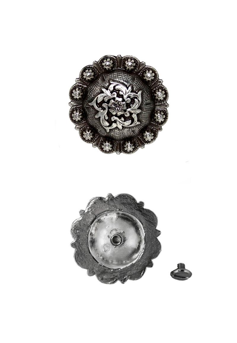 www.beadyourfashion.nl - Metalen Concho ± 25,4mm silver plated
