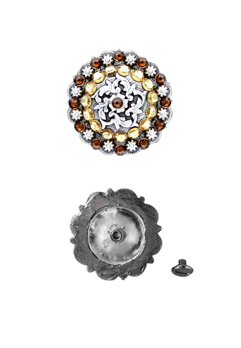 www.beadyourfashion.nl - Concho met Swarovski Elements ± 25,4mm silver plated