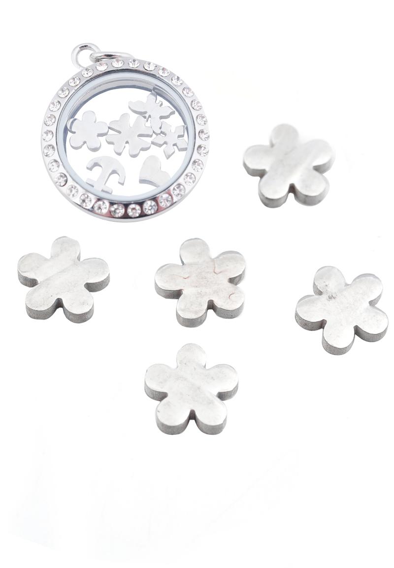 www.beadyourfashion.com - Stainless steel 'Floating Charm' flower, 6x7,5mm