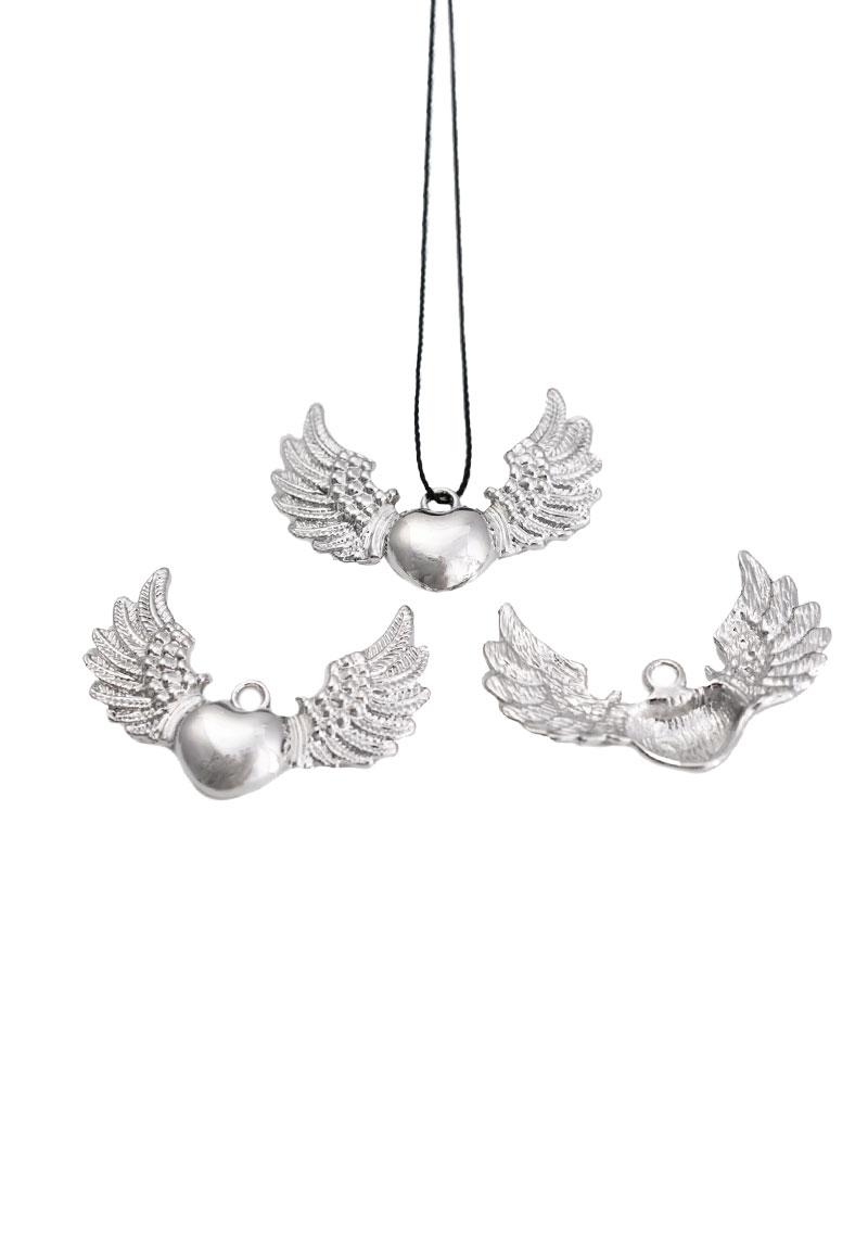 www.beadyourfashion.com - Metal pendant/charm heart with wings 25x33mm