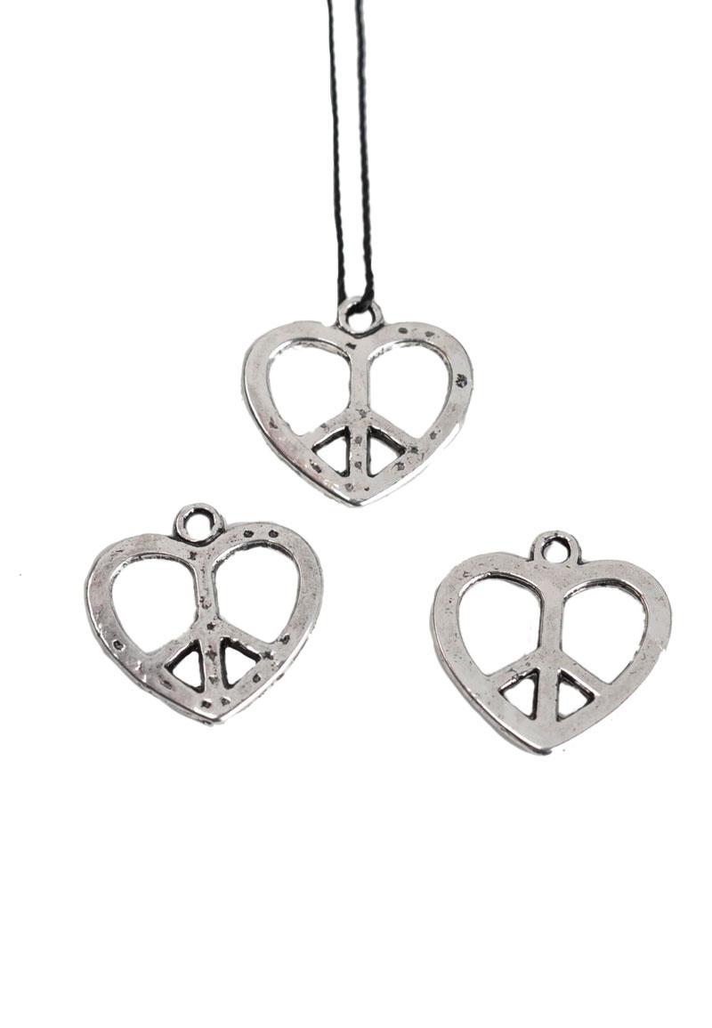 www.beadyourfashion.com - Metal pendant/charm peace sign 19x27mm