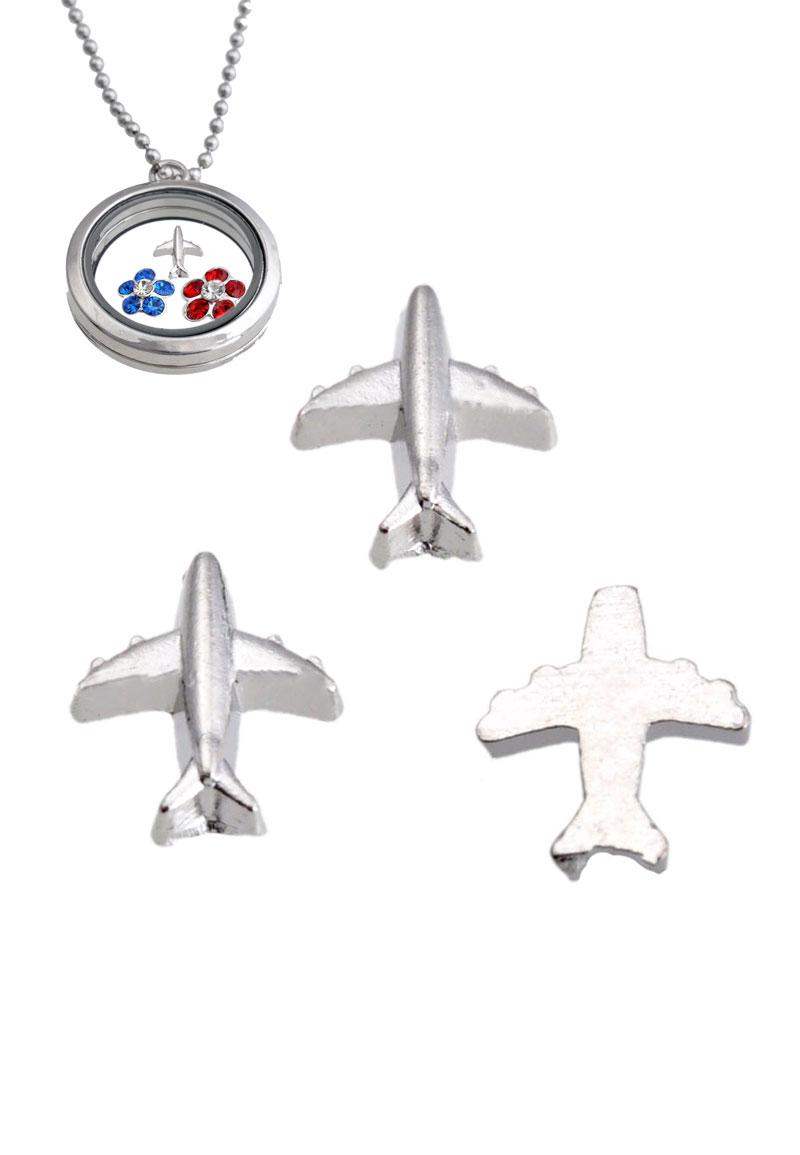 www.beadyourfashion.com - Metal 'Floating Charm' airplane, 8,5x8mm