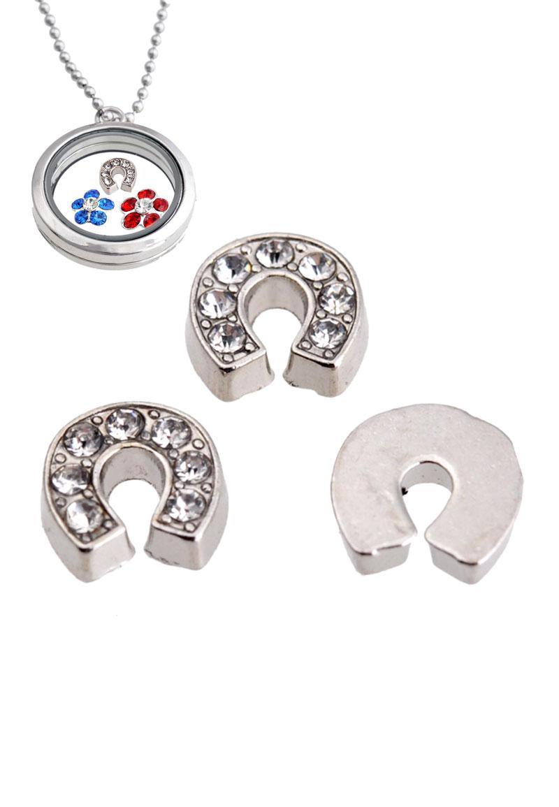 www.beadyourfashion.com - Metal 'Floating Charm' horseshoe with strass, 8,5x8mm