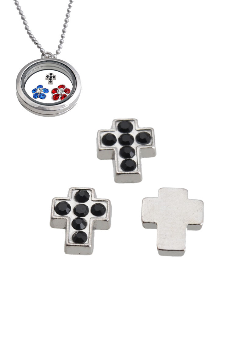 www.beadyourfashion.com - Metal bead 'Floating Charm' cross with strass ± 8,5x7mm (suitable for 'Floating Charm Locket' with glass setting)