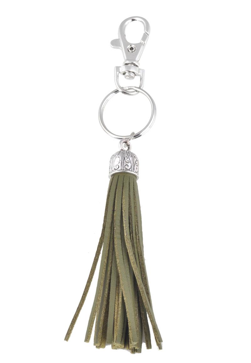 www.beadyourfashion.com - Imitation leather keychain tassel 15x2cm