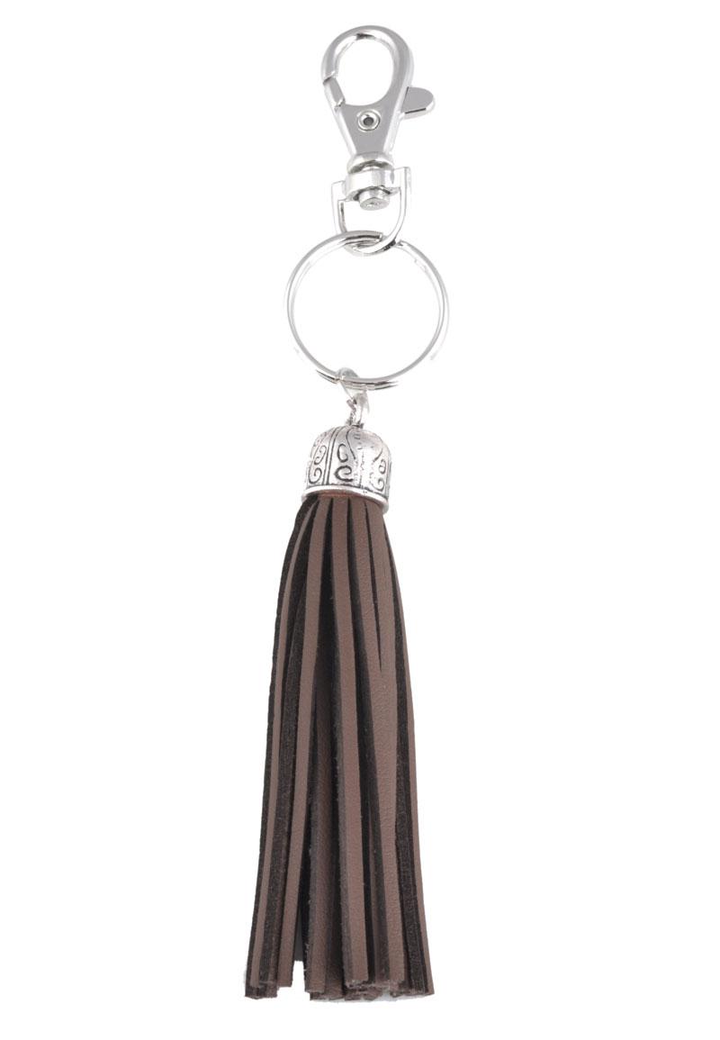 www.beadyourfashion.nl - Imitatieleer sleutelhanger kwastje 15x2cm
